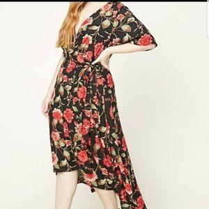EUC Forever 21 floral wrap dress
